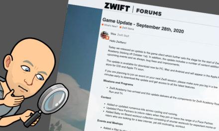 Zwift – La mise à jour d'octobre 2020