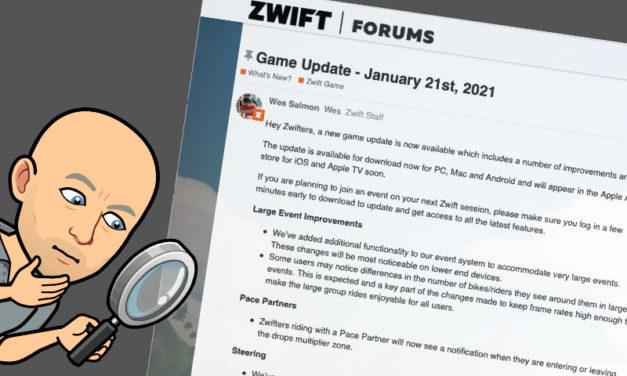 Zwift – Mise à jour du 21 janvier 2021